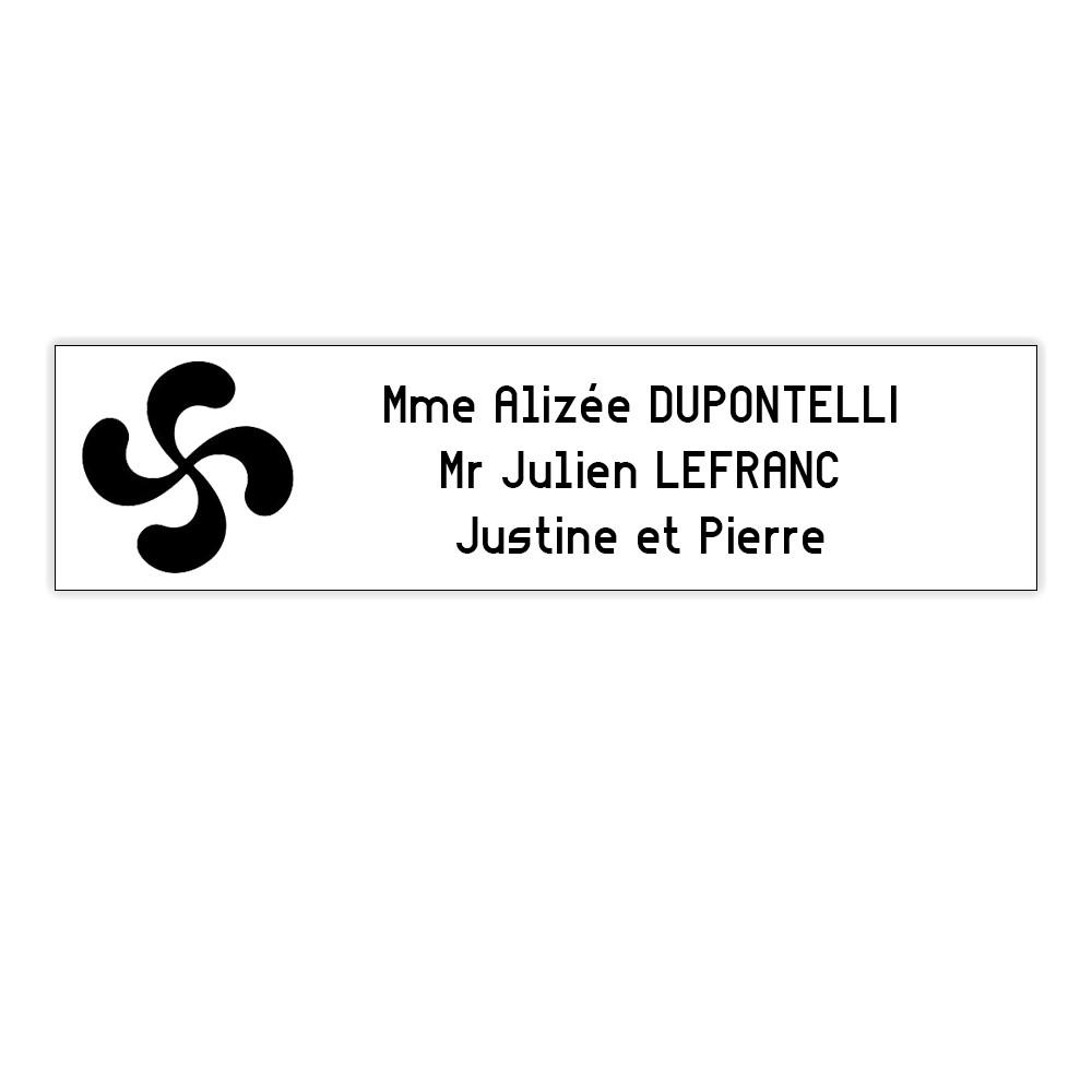 Plaque boite aux lettres Decayeux CROIX BASQUE (100x25mm) blanche lettres noires - 3 lignes