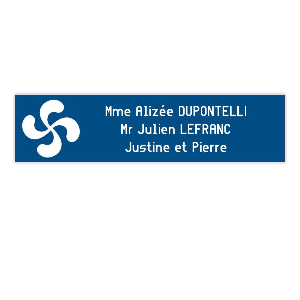 Plaque boite aux lettres Decayeux CROIX BASQUE (100x25mm) bleue lettres blanches - 3 lignes