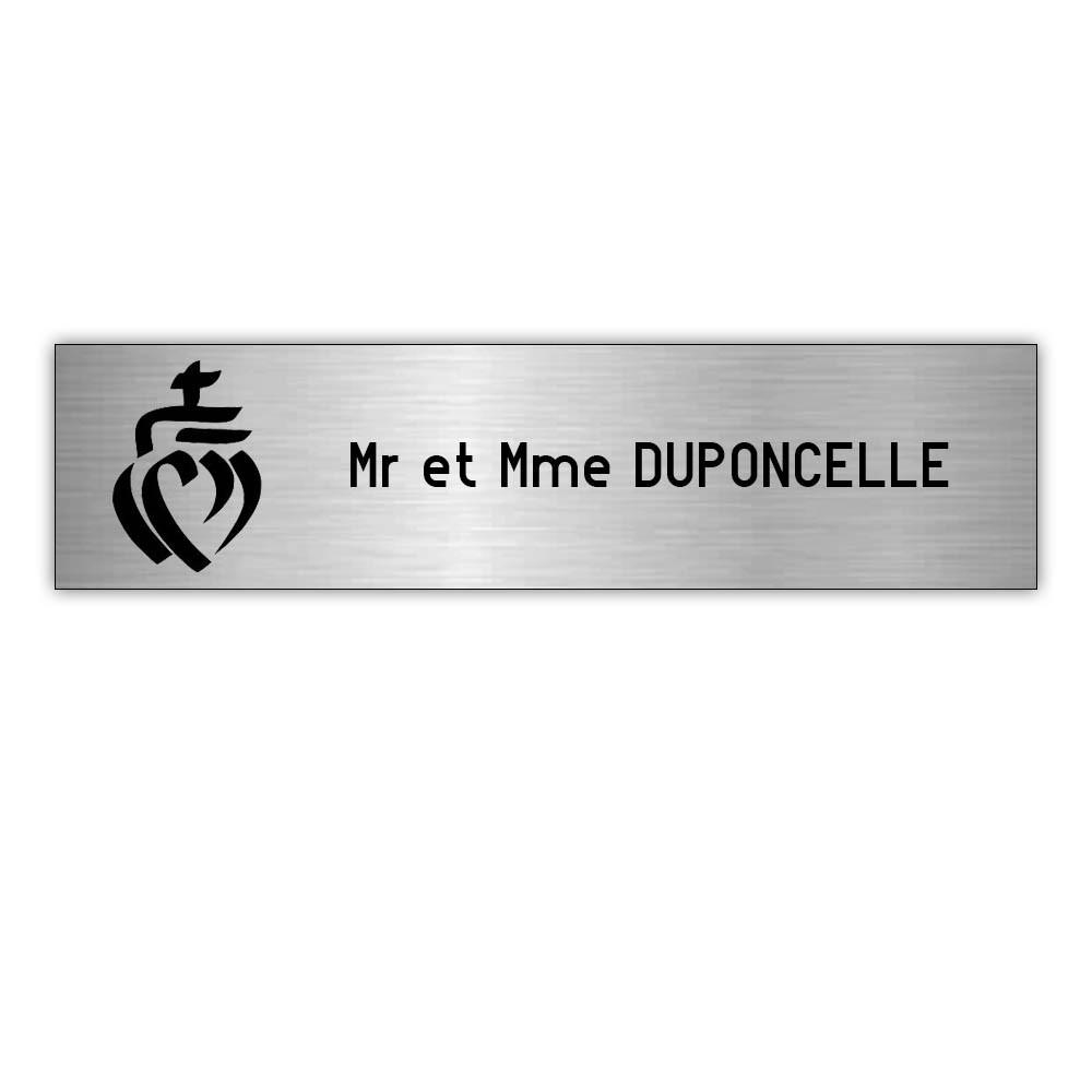 Plaque boite aux lettres Decayeux COEUR VENDEEN (100x25mm) gris argent lettres noires - 1 ligne