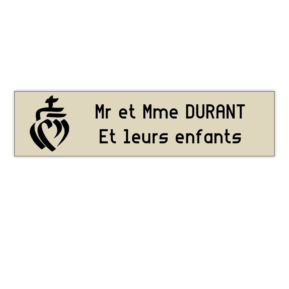 Plaque boite aux lettres Decayeux COEUR VENDEEN (100x25mm) beige lettres noires - 2 lignes