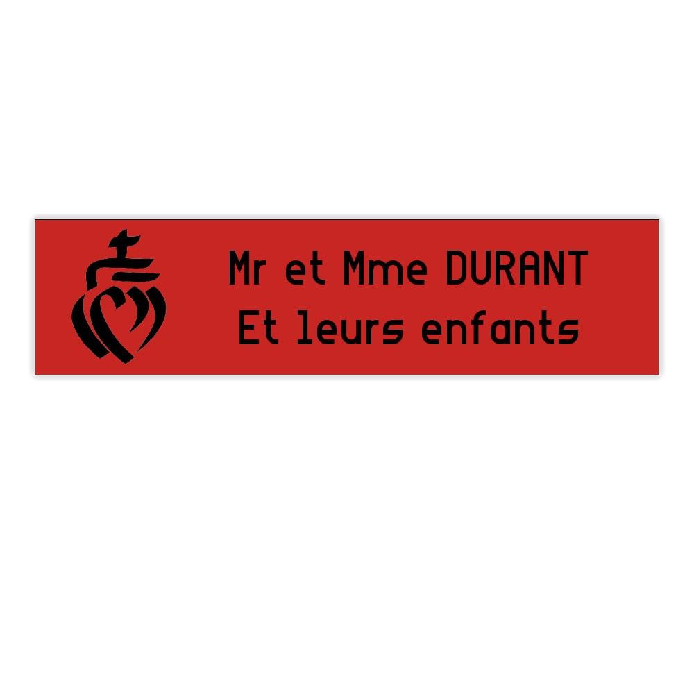 Plaque boite aux lettres Decayeux COEUR VENDEEN (100x25mm) rouge lettres noires - 2 lignes