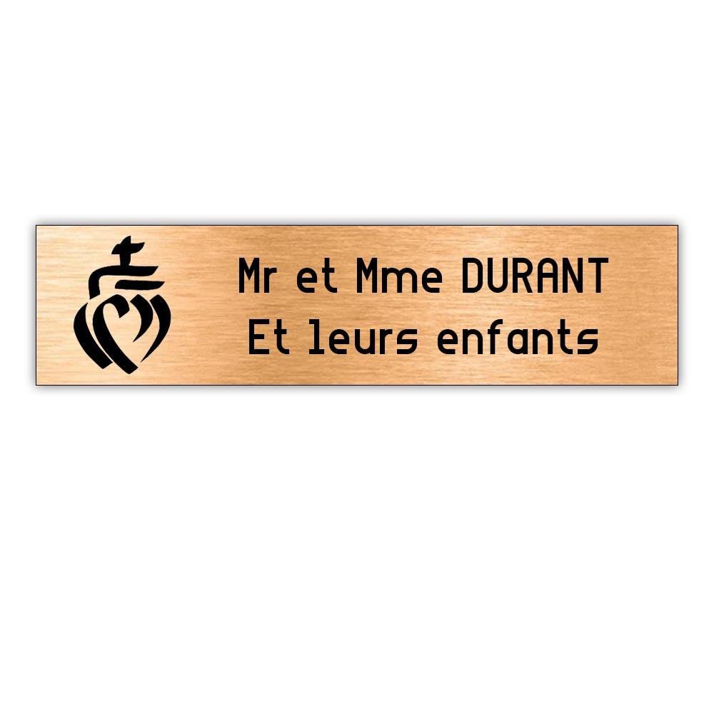 Plaque boite aux lettres Decayeux COEUR VENDEEN (100x25mm) cuivre lettres noires - 2 lignes