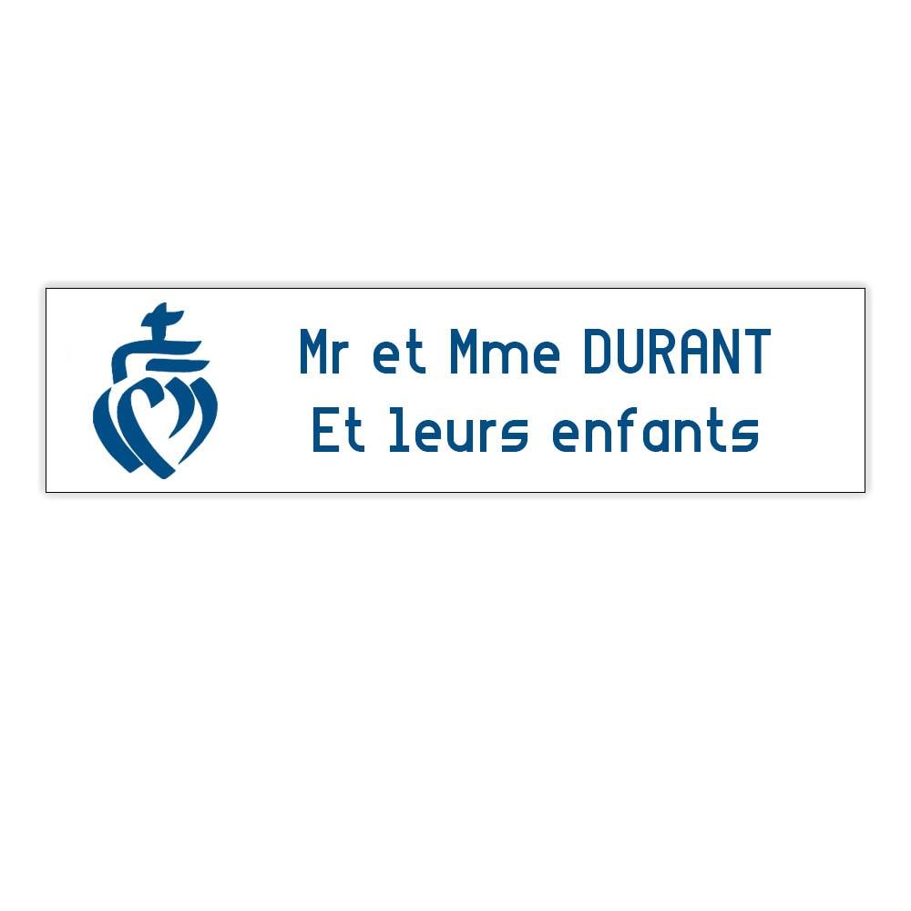 Plaque boite aux lettres Decayeux COEUR VENDEEN (100x25mm) blanche lettres bleues - 2 lignes