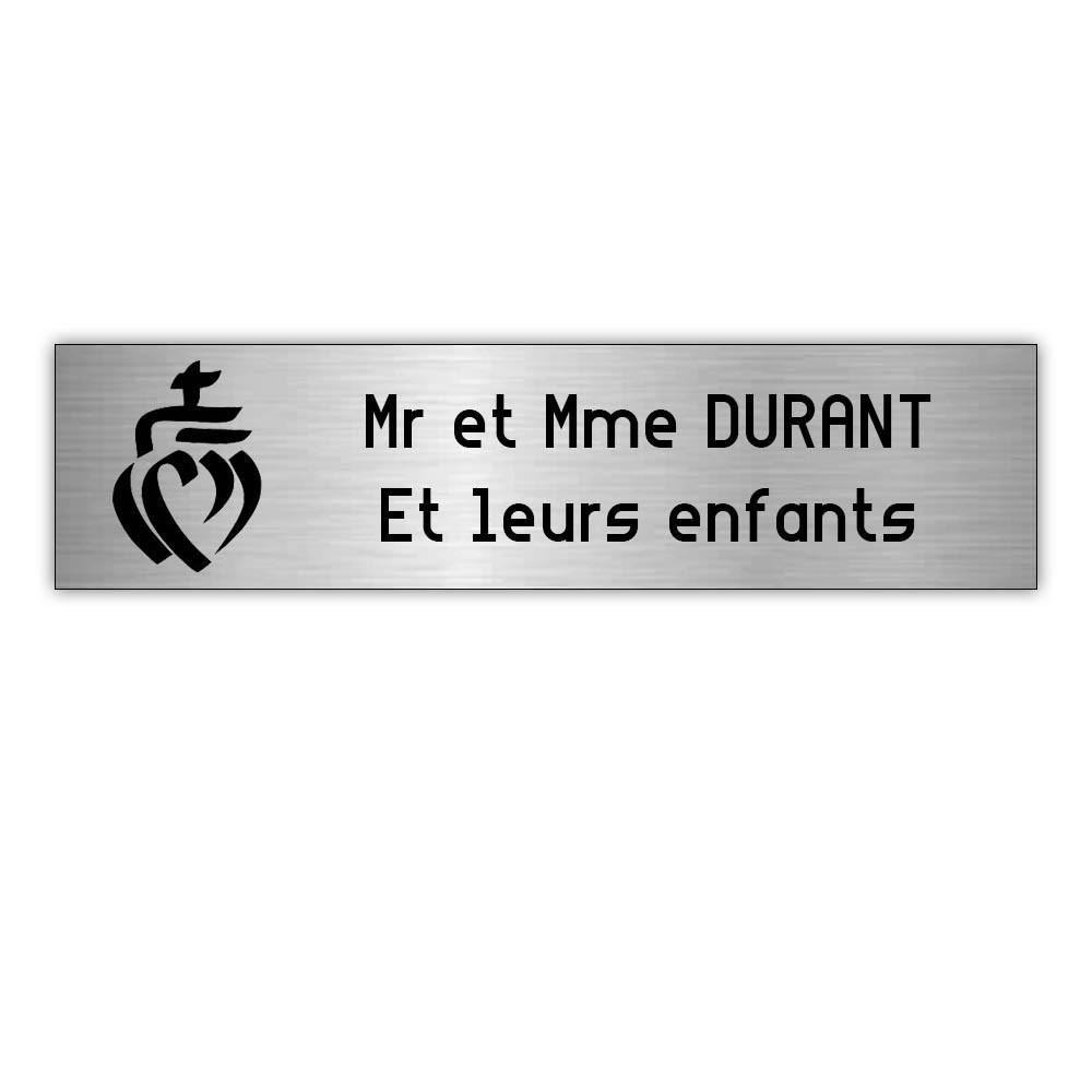 Plaque boite aux lettres Decayeux COEUR VENDEEN (100x25mm) gris argent lettres noires - 2 lignes