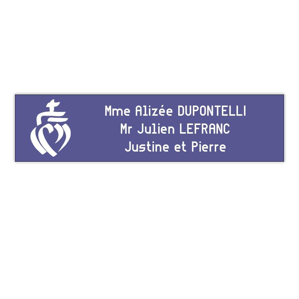 Plaque boite aux lettres format Decayeux COEUR VENDEEN (100x25mm) violette lettres blanches - 3 lignes