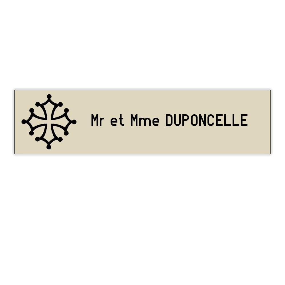 Plaque boite aux lettres Decayeux CROIX OCCITANE (100x25mm) beige lettres noires - 1 ligne