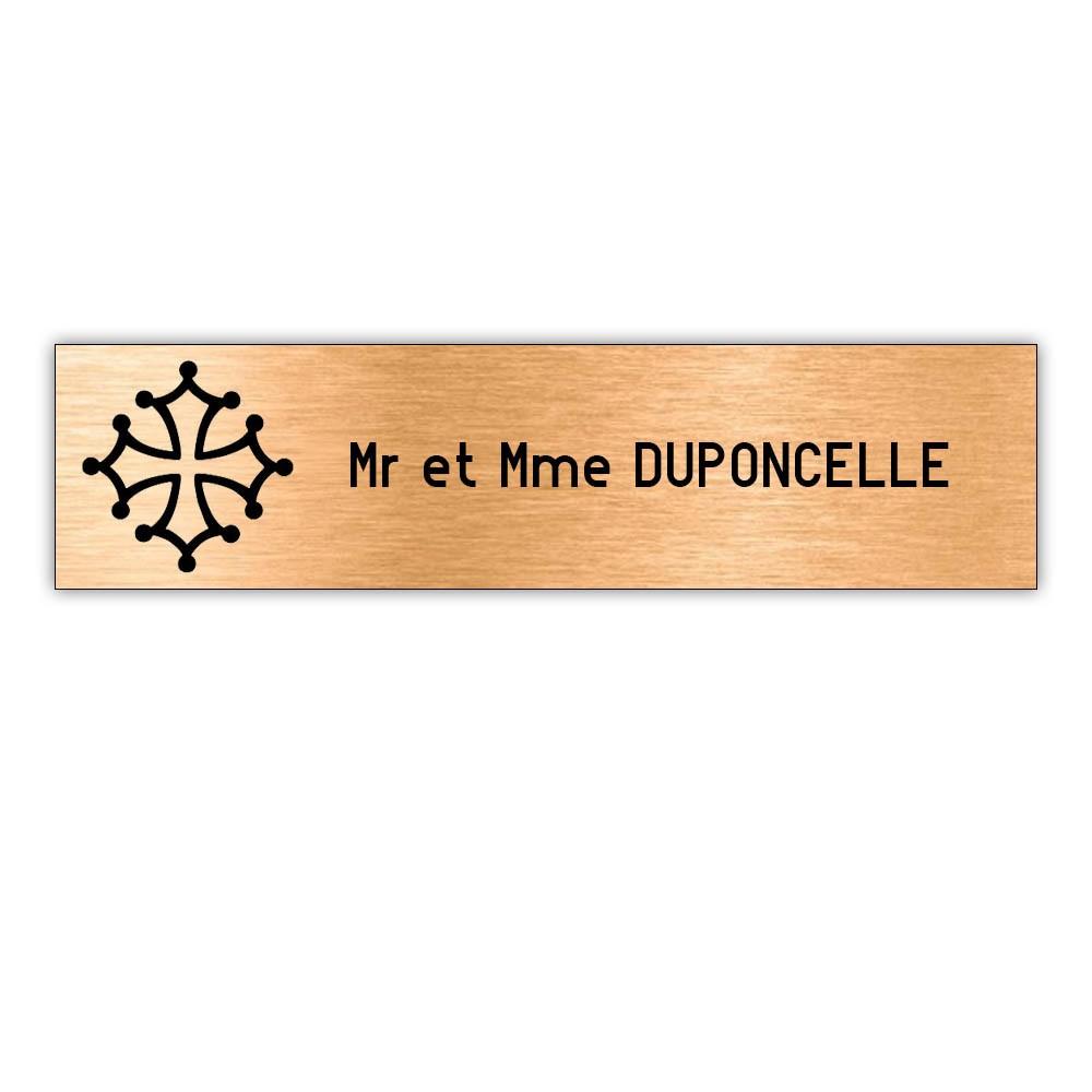 Plaque boite aux lettres Decayeux CROIX OCCITANE (100x25mm) cuivre lettres noires - 1 ligne
