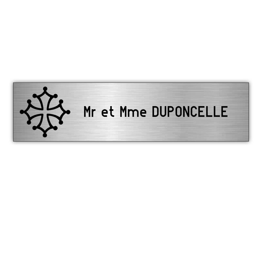 Plaque boite aux lettres Decayeux CROIX OCCITANE (100x25mm) gris argent lettres noires - 1 ligne