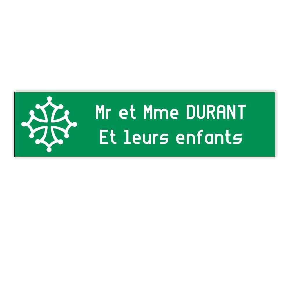 Plaque boite aux lettres Decayeux CROIX OCCITANE (100x25mm) vert pomme lettres blanches - 2 lignes