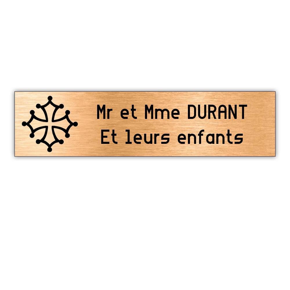 Plaque boite aux lettres Decayeux CROIX OCCITANE (100x25mm) cuivre lettres noires - 2 lignes