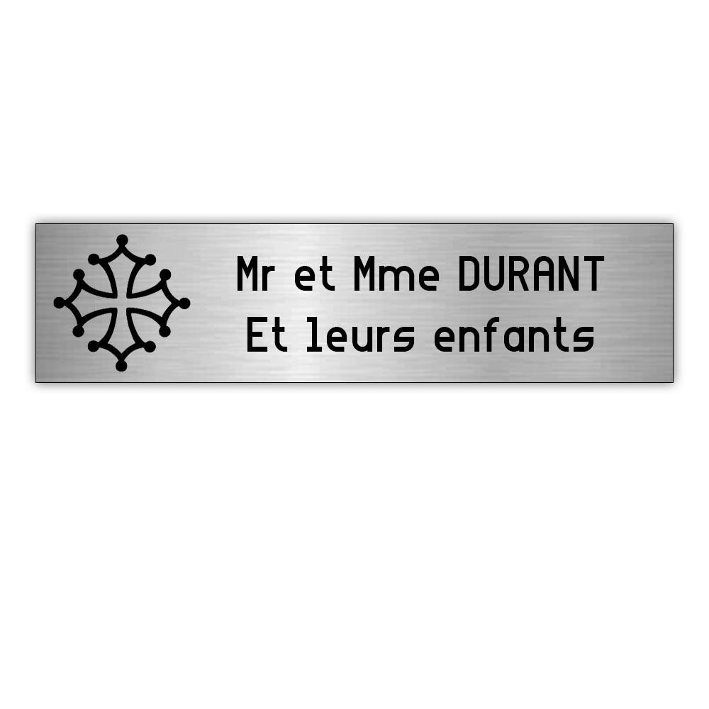 Plaque boite aux lettres Decayeux CROIX OCCITANE (100x25mm) gris argent lettres noires - 2 lignes