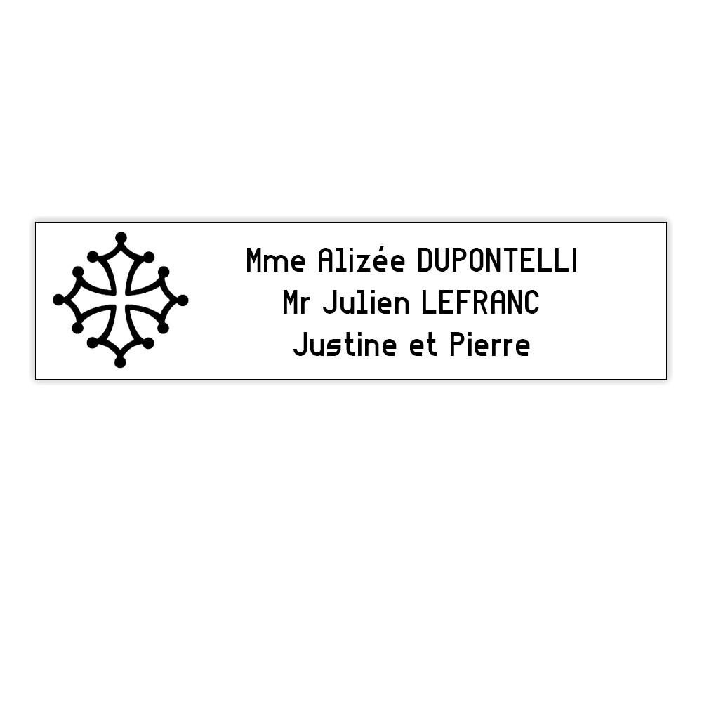 Plaque boite aux lettres Decayeux CROIX OCCITANE (100x25mm) blanche lettres noires - 3 lignes