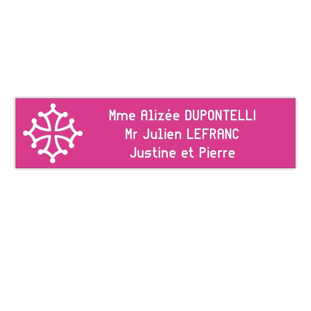 Plaque boite aux lettres Decayeux CROIX OCCITANE (100x25mm) rose lettres blanches - 3 lignes