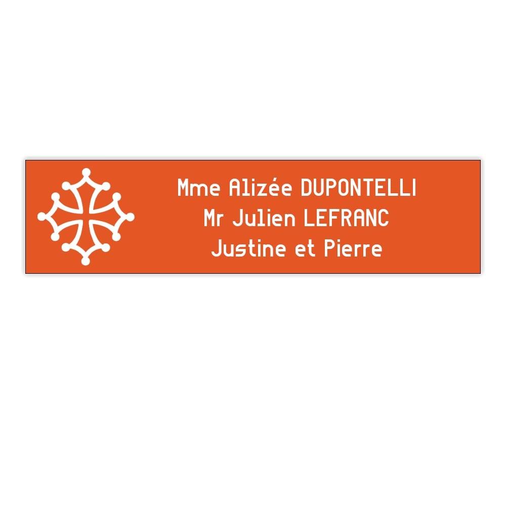 Plaque boite aux lettres Decayeux CROIX OCCITANE (100x25mm) orange lettres blanches - 3 lignes