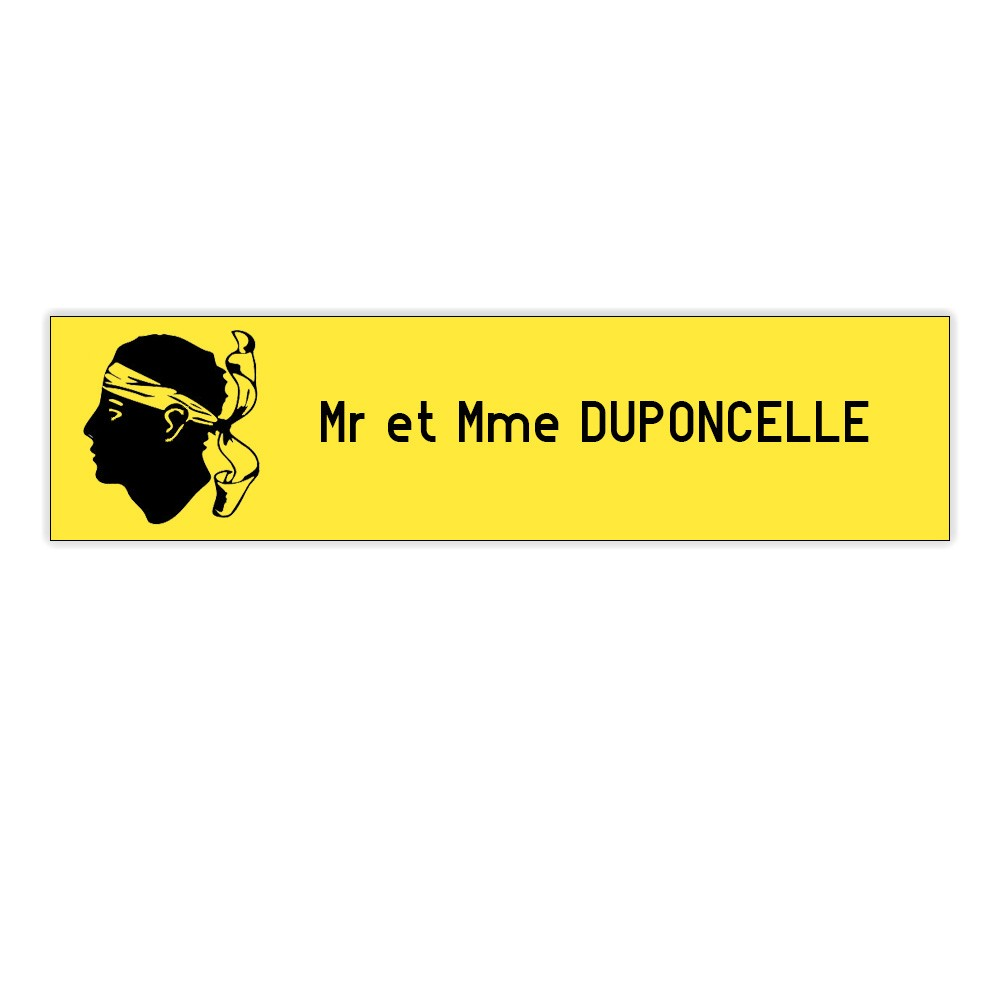 Plaque boite aux lettres Decayeux CORSE (100x25mm) jaune lettres noires - 1 ligne