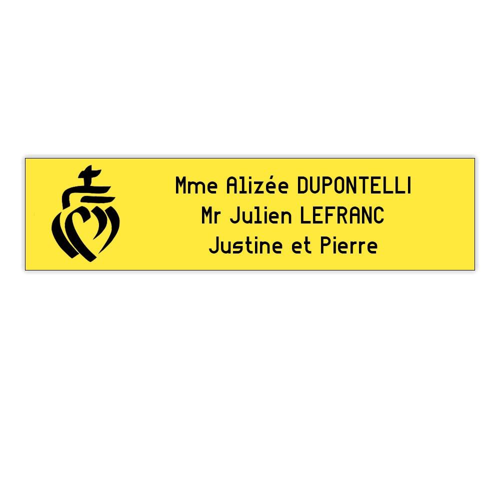 Plaque boite aux lettres Decayeux COEUR VENDEEN (100x25mm) jaune lettres noires - 3 lignes