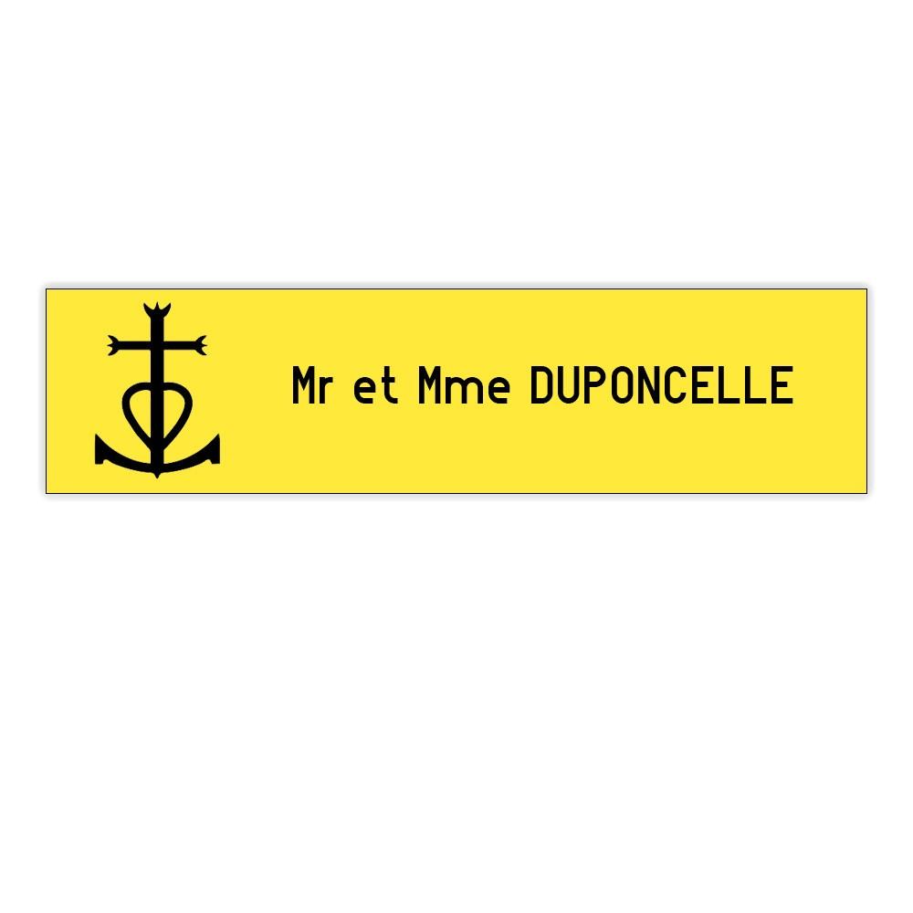 Plaque boite aux lettres Decayeux CROIX CAMARGUAISE (100x25mm) jaune lettres noires - 1 ligne