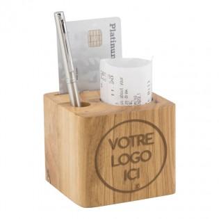 10 x Porte-additions personnalisés avec votre logo par gravure laser en bois modèle Cube - Hôtel Restaurant