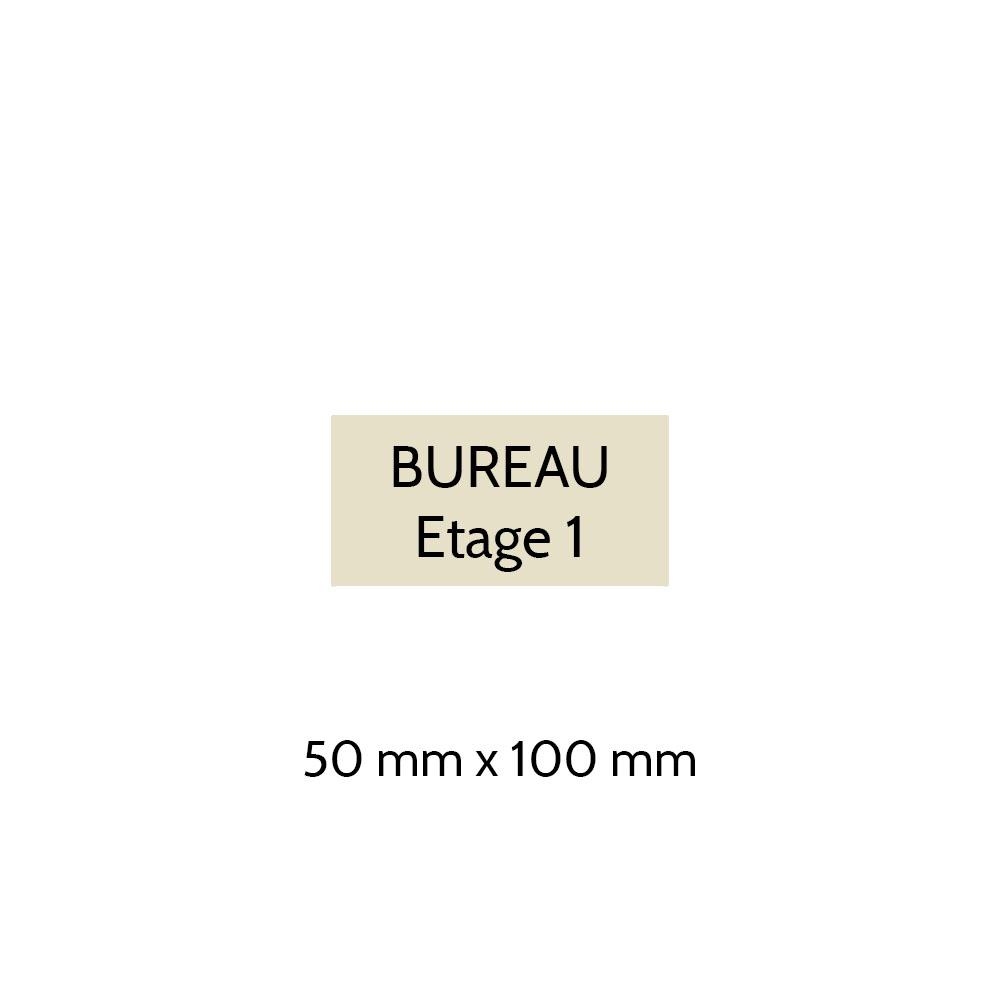 Plaque de porte gravée sur 1 à 2 lignes couleur beige lettres noires - Format rectangle 50 x 100 mm