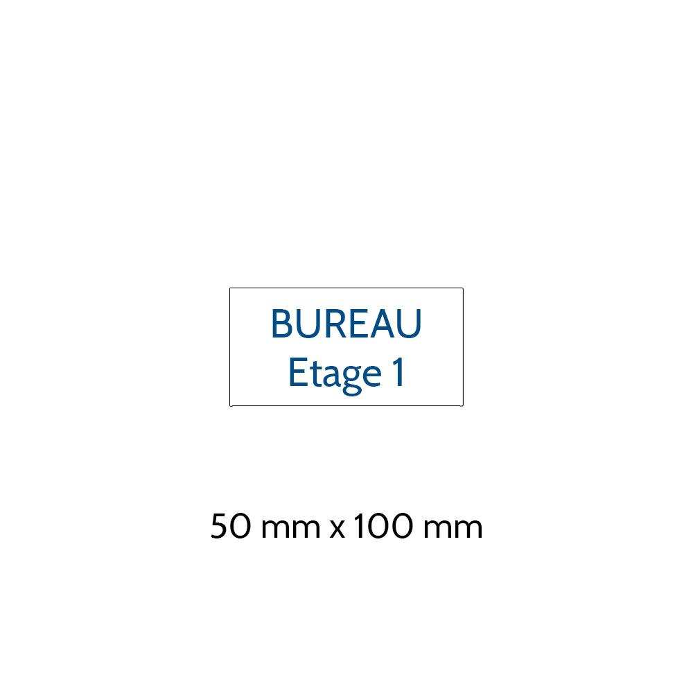 Plaque de porte gravée sur 1 à 2 lignes couleur blanche lettres bleues - Format rectangle 50 x 100 mm
