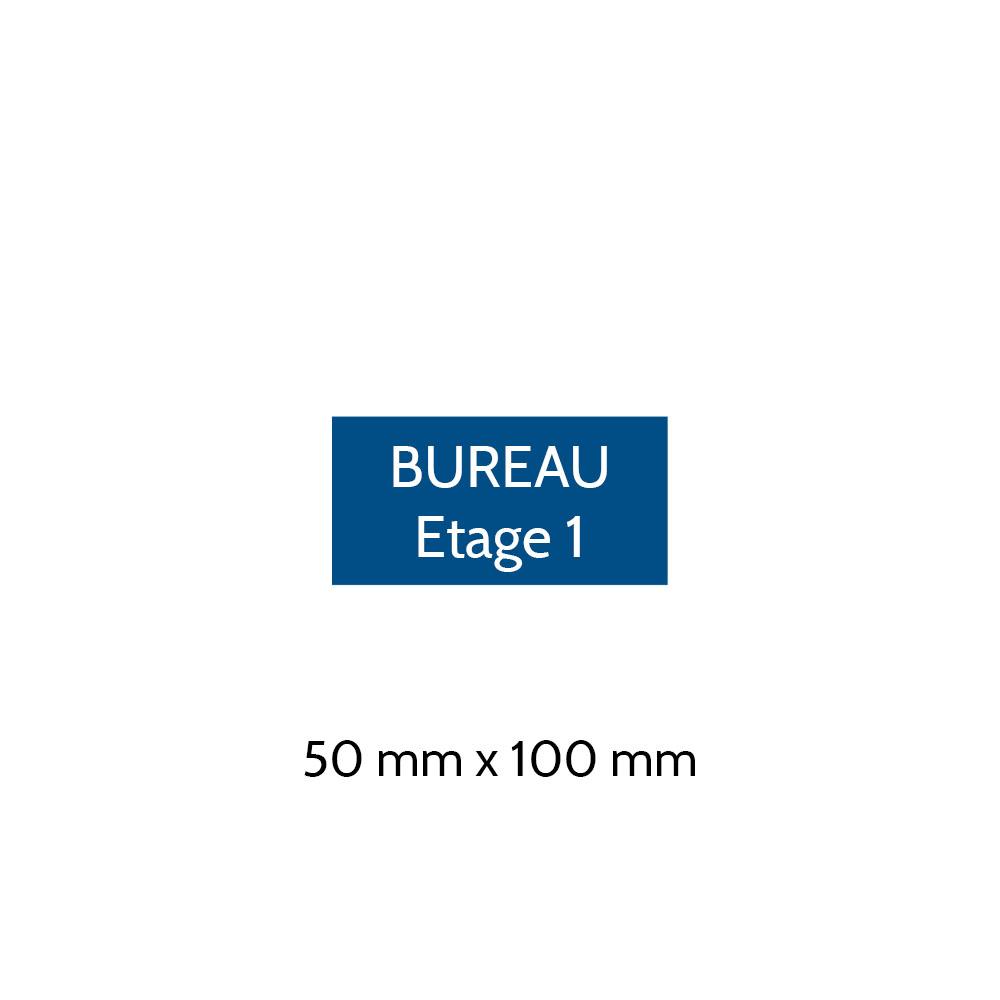 Plaque de porte gravée sur 1 à 2 lignes couleur bleue lettres blanches - Format rectangle 50 x 100 mm