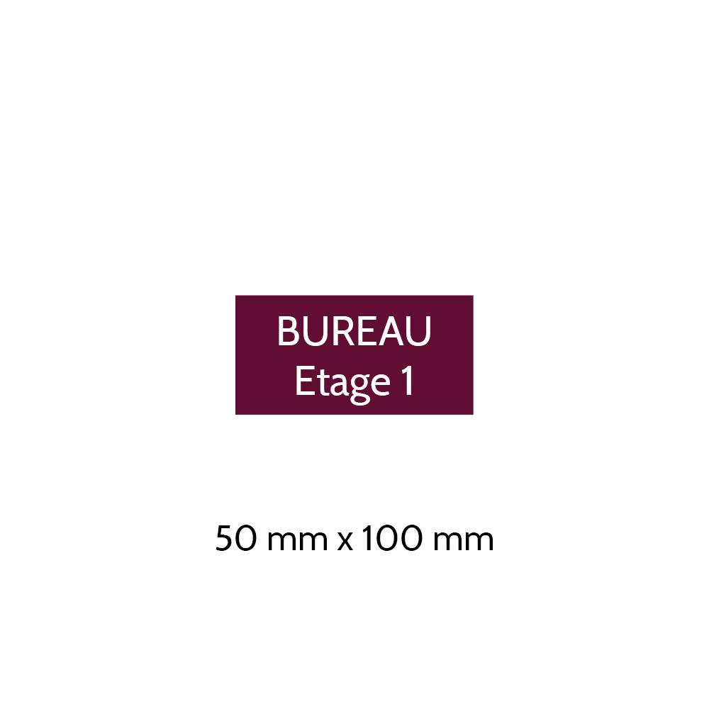 Plaque de porte gravée sur 1 à 2 lignes couleur bordeaux lettres blanches - Format rectangle 50 x 100 mm
