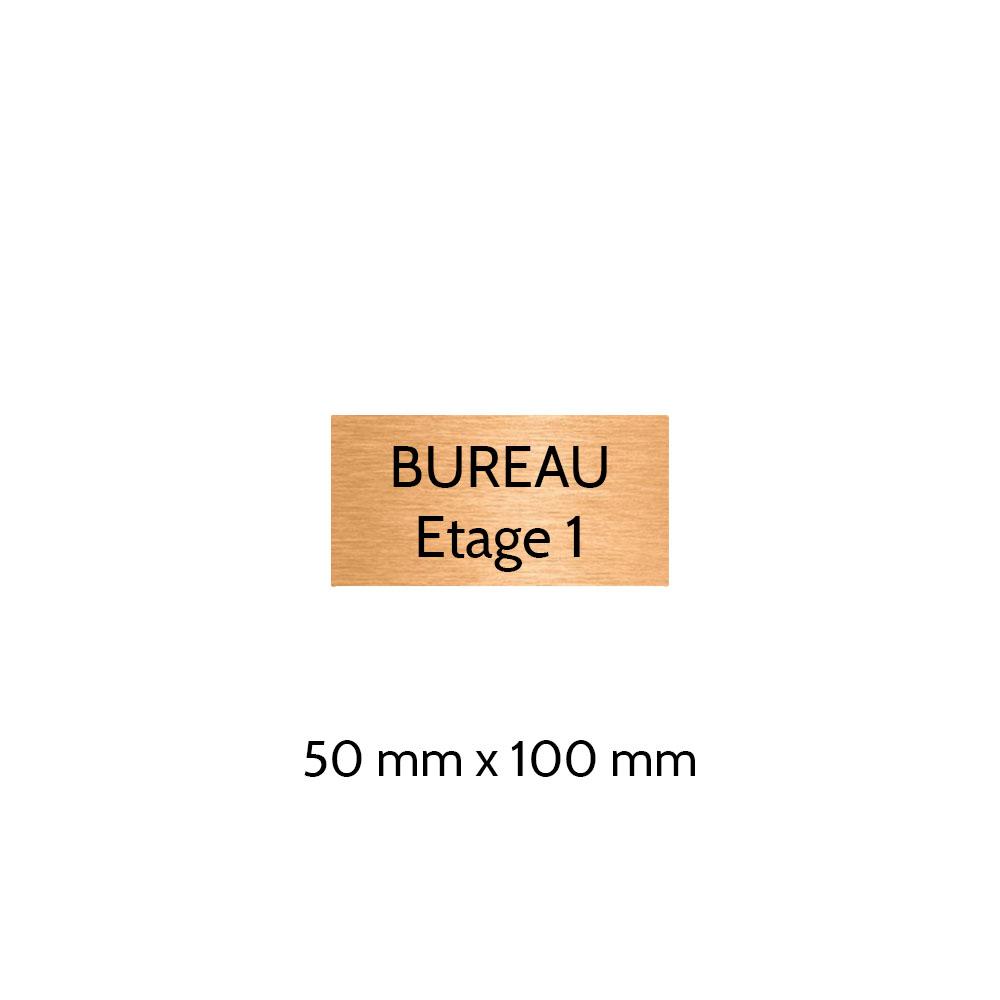Plaque de porte gravée sur 1 à 2 lignes couleur cuivre lettres noires - Format rectangle 50 x 100 mm