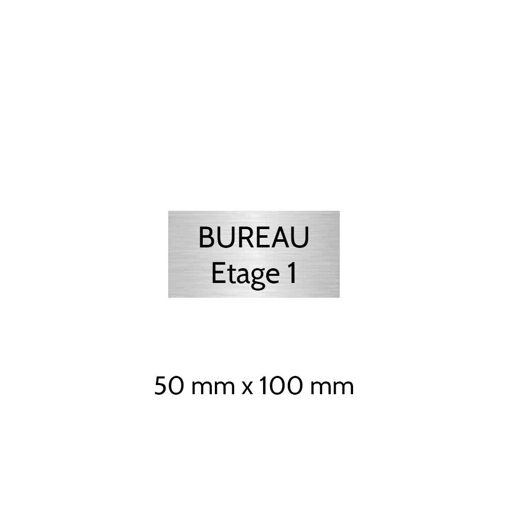 Plaque de porte gravée sur 1 à 2 lignes couleur gris argent lettres noires - Format rectangle 50 x 100 mm