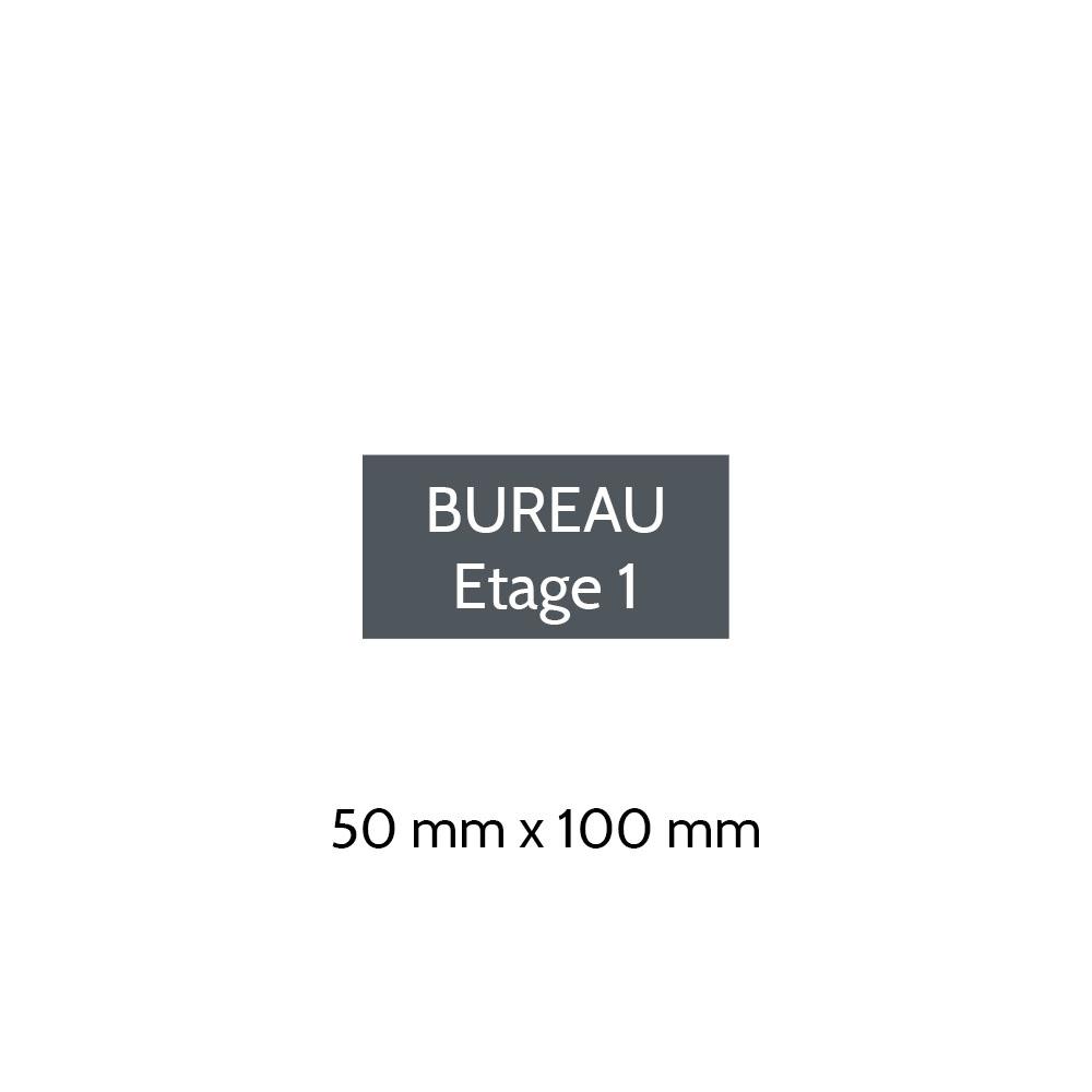 Plaque de porte gravée sur 1 à 2 lignes couleur grise lettres blanches - Format rectangle 50 x 100 mm