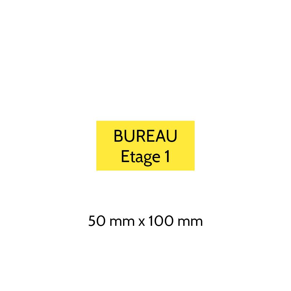 Plaque de porte gravée sur 1 à 2 lignes couleur jaune lettres noires - Format rectangle 50 x 100 mm