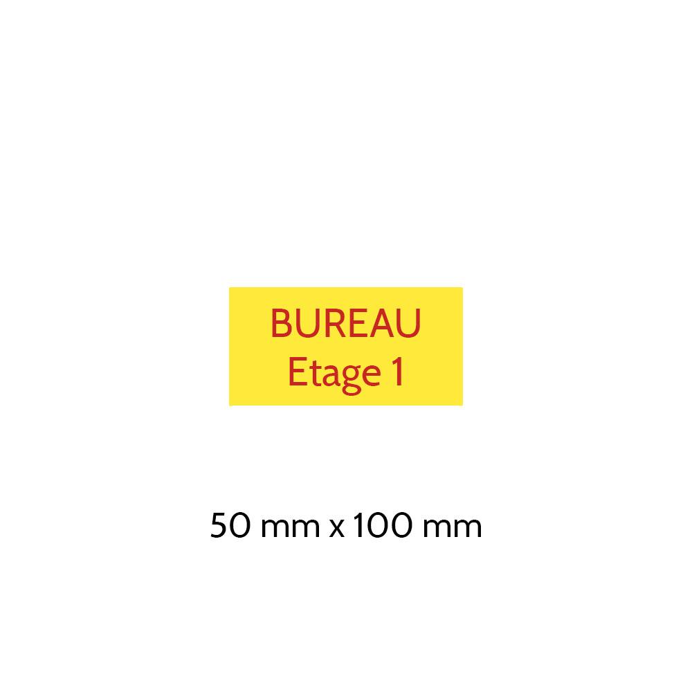 Plaque de porte gravée sur 1 à 2 lignes couleur Jaune lettres rouges - Format rectangle 50 x 100 mm