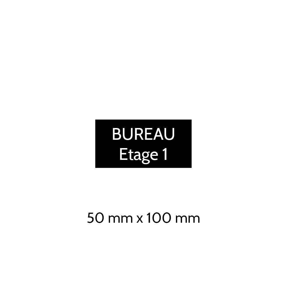 Plaque de porte gravée sur 1 à 2 lignes couleur noire lettres blanches - Format rectangle 50 x 100 mm