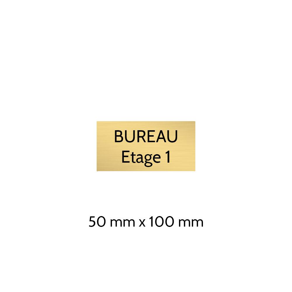 Plaque de porte gravée sur 1 à 2 lignes couleur or brossé lettres noires - Format rectangle 50 x 100 mm