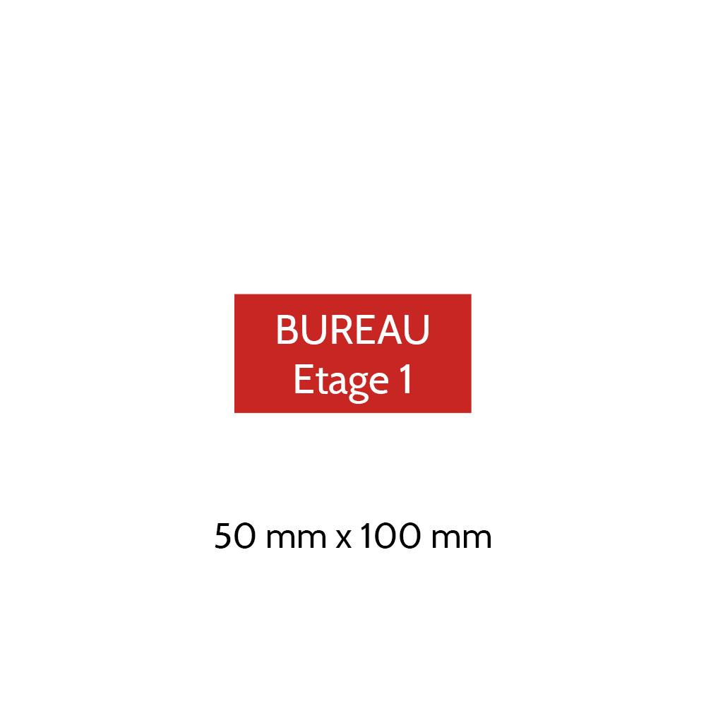 Plaque de porte gravée sur 1 à 2 lignes couleur rouge lettres blanches - Format rectangle 50 x 100 mm