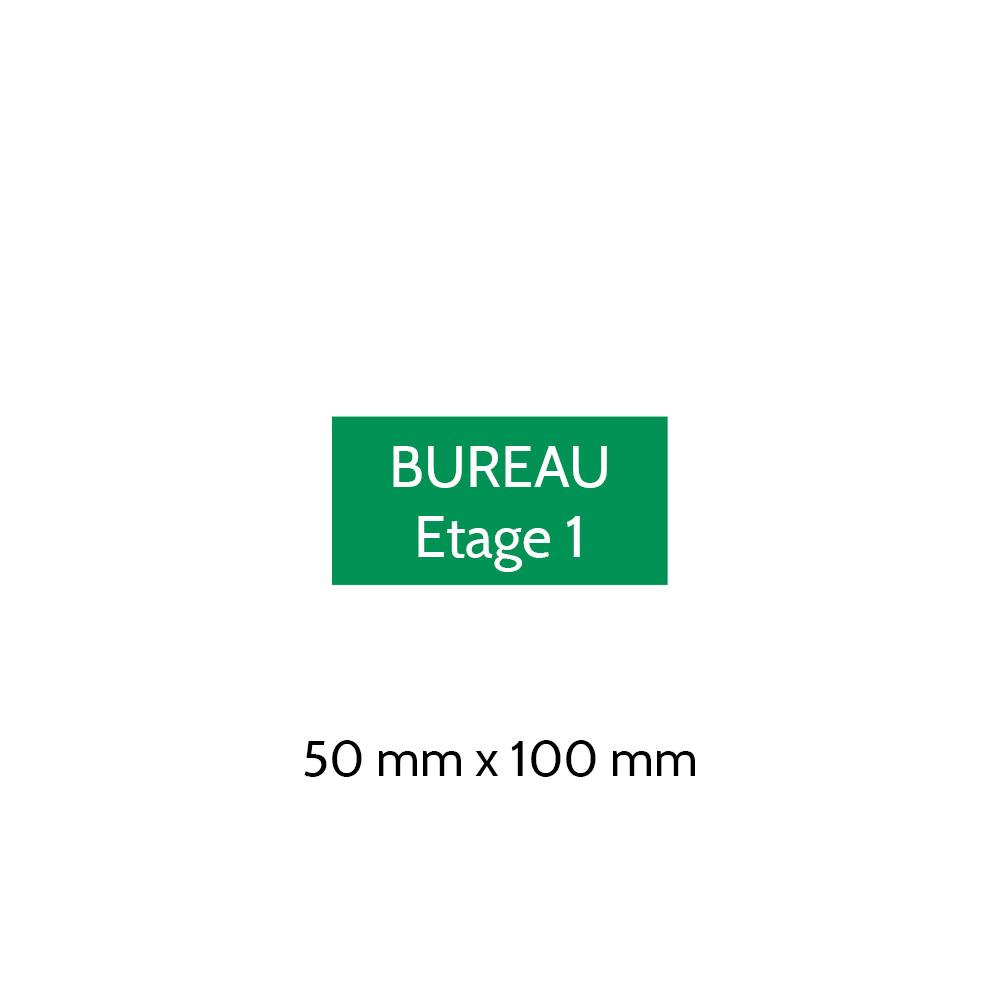 Plaque de porte gravée sur 1 à 2 lignes couleur vert clair lettres blanches - Format rectangle 50 x 100 mm