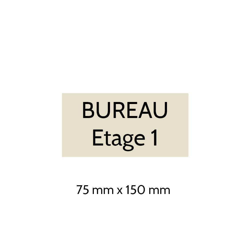 Plaque de porte gravée sur 1 à 2 lignes couleur beige lettres noires - Format rectangle 75 x 150 mm