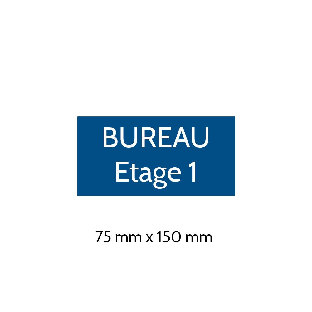 Plaque de porte gravée sur 1 à 2 lignes couleur bleue lettres blanches - Format rectangle 75 x 150 mm