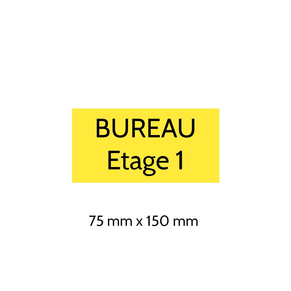 Plaque de porte gravée sur 1 à 2 lignes couleur jaune lettres noires - Format rectangle 75 x 150 mm