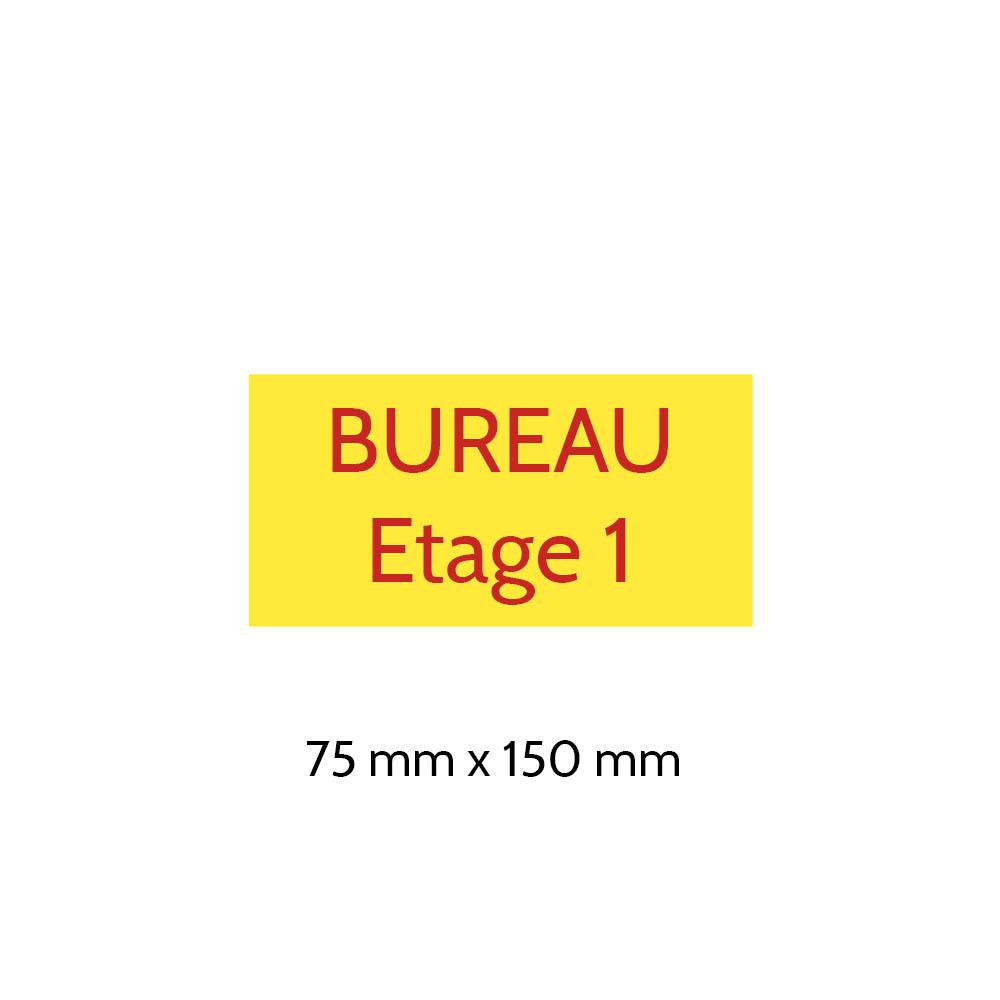 Plaque de porte gravée sur 1 à 2 lignes couleur Jaune lettres rouges - Format rectangle 75 x 150 mm