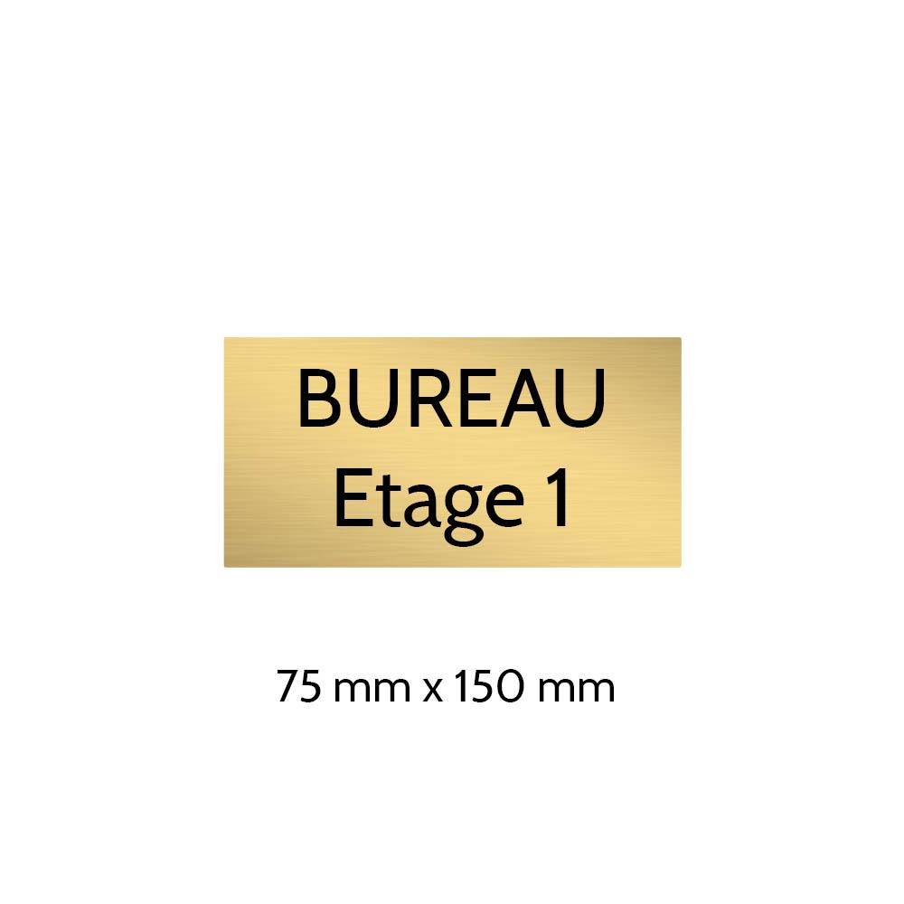 Plaque de porte gravée sur 1 à 2 lignes couleur or brossé lettres noires - Format rectangle 75 x 150 mm