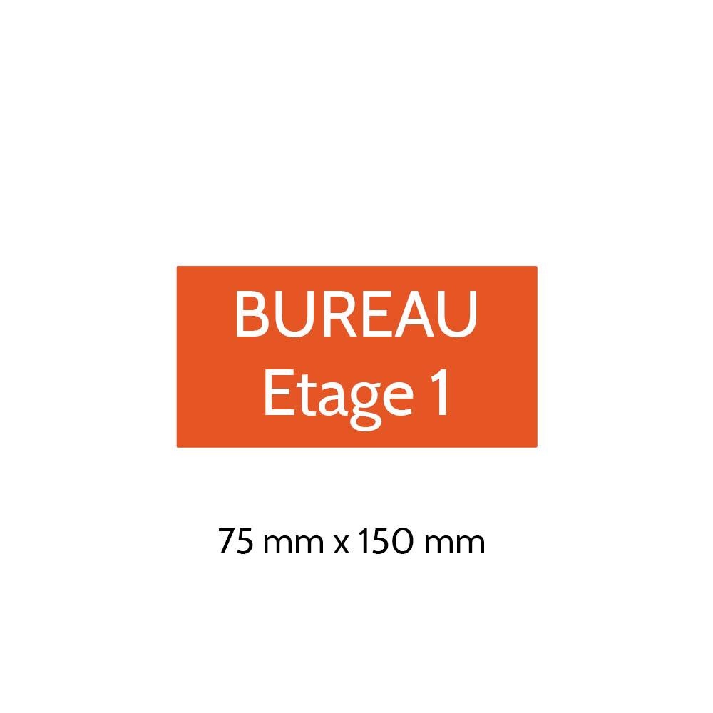 Plaque de porte gravée sur 1 à 2 lignes couleur orange lettres blanches - Format rectangle 75 x 150 mm