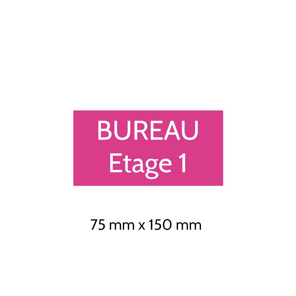 Plaque de porte gravée sur 1 à 2 lignes couleur rose lettres blanches - Format rectangle 75 x 150 mm