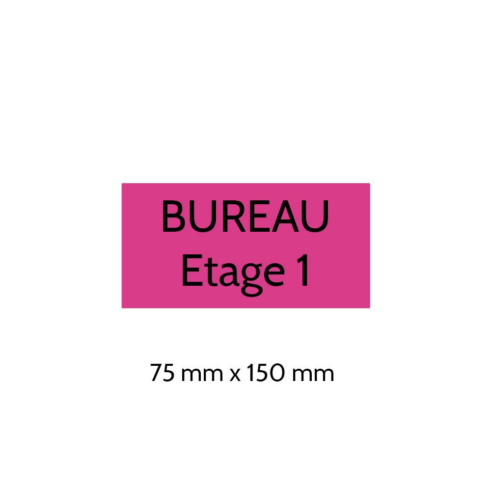Plaque de porte gravée sur 1 à 2 lignes couleur rose lettres noires - Format rectangle 75 x 150 mm