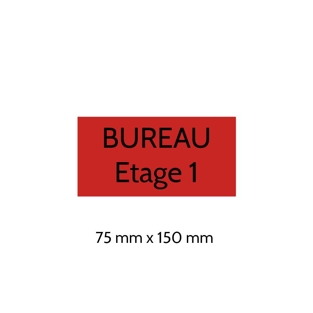Plaque de porte gravée sur 1 à 2 lignes couleur rouge lettres noires - Format rectangle 75 x 150 mm
