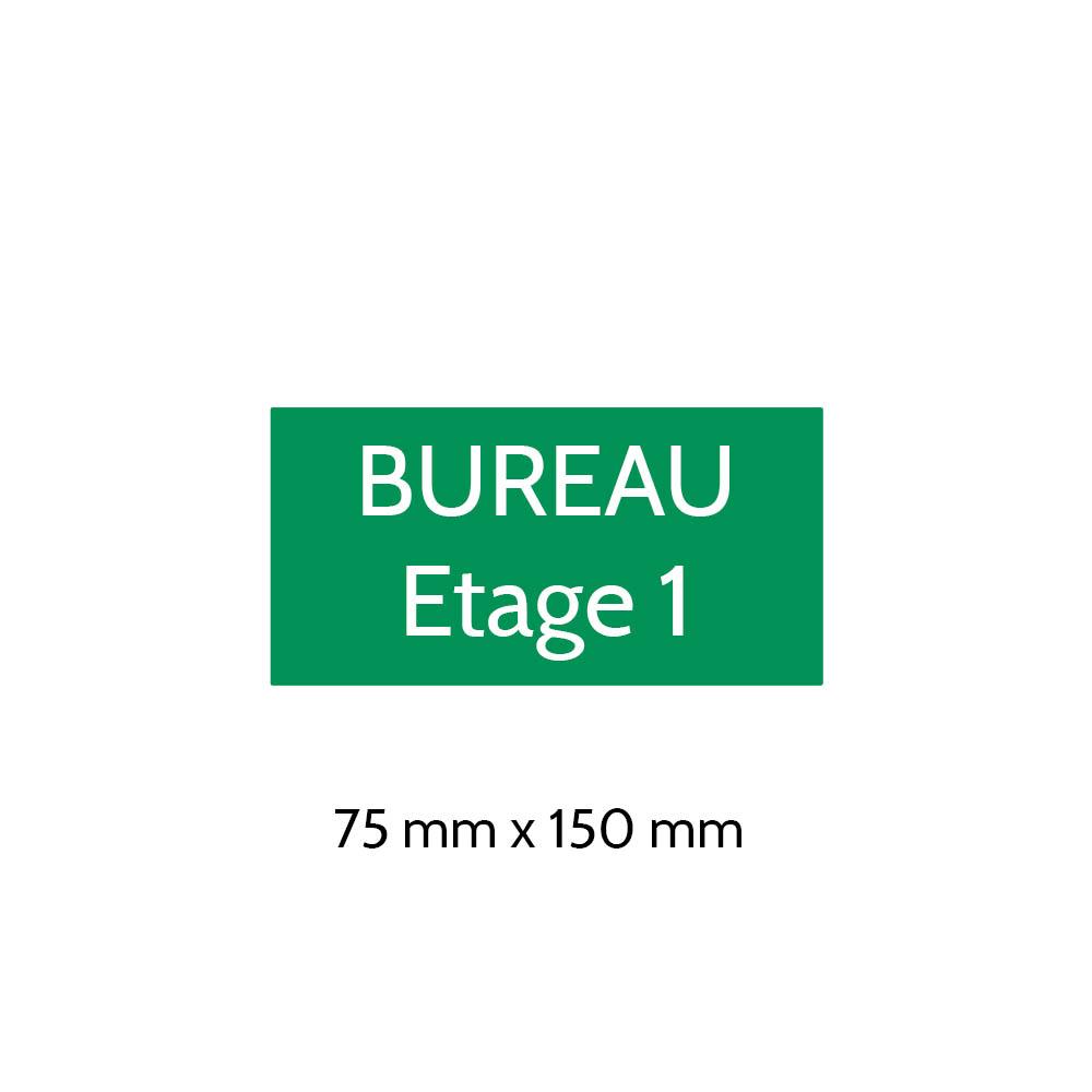 Plaque de porte gravée sur 1 à 2 lignes couleur vert clair lettres blanches - Format rectangle 75 x 150 mm