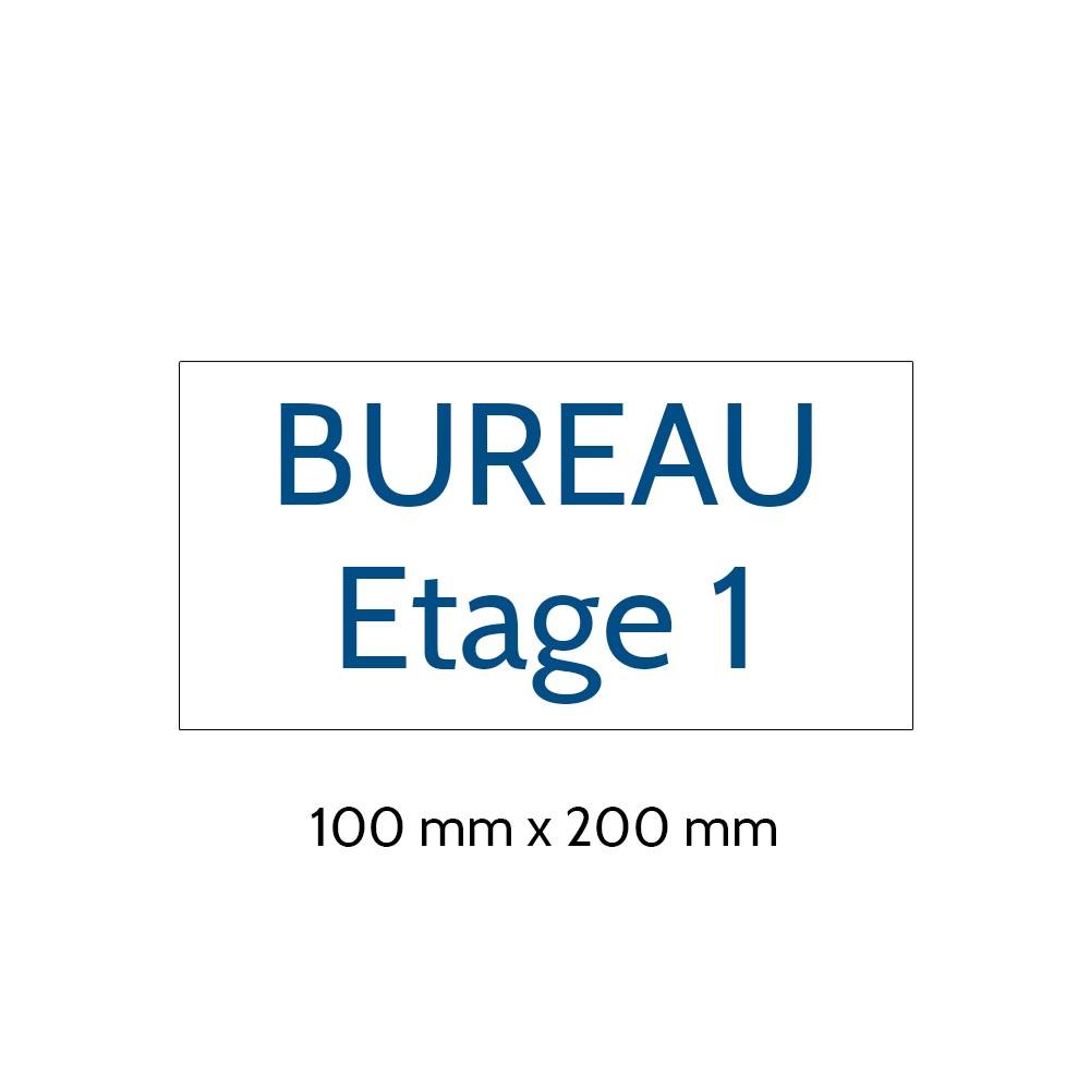 Plaque de porte gravée sur 1 à 2 lignes couleur blanche lettres bleues - Format rectangle 100 x 200 mm