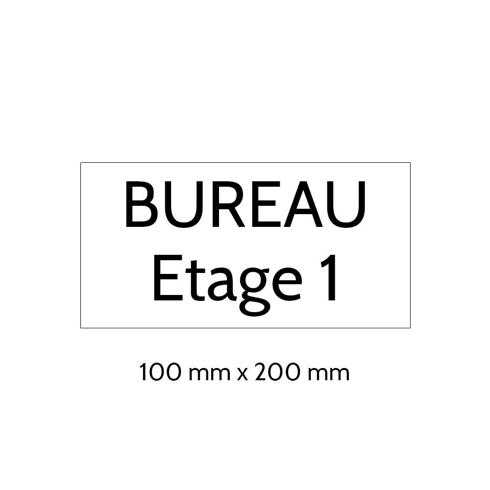 Plaque de porte gravée sur 1 à 2 lignes couleur blanche lettres noires - Format rectangle 100 x 200 mm