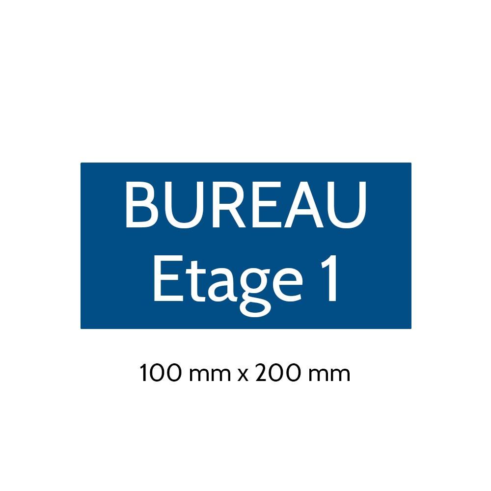 Plaque de porte gravée sur 1 à 2 lignes couleur bleue lettres blanches - Format rectangle 100 x 200 mm