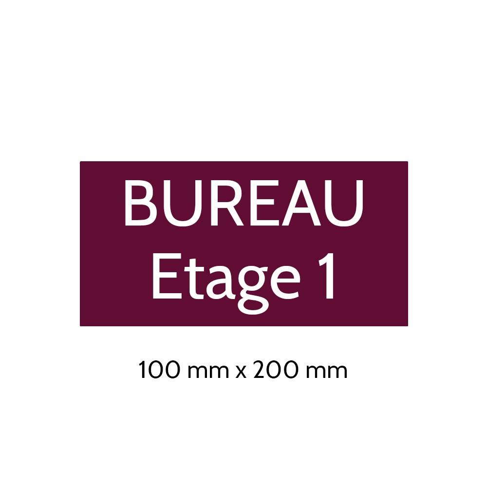 Plaque de porte gravée sur 1 à 2 lignes couleur bordeaux lettres blanches - Format rectangle 100 x 200 mm