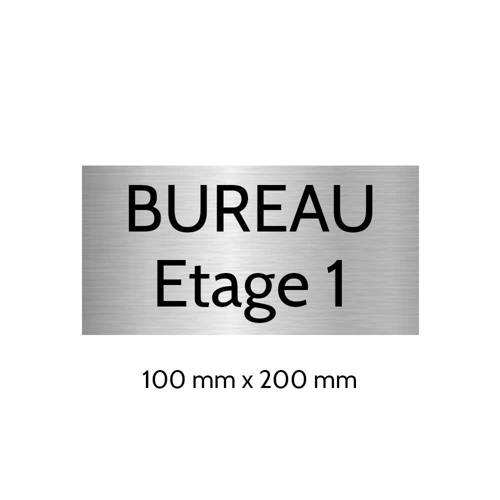 Plaque de porte gravée sur 1 à 2 lignes couleur gris argent lettres noires - Format rectangle 100 x 200 mm